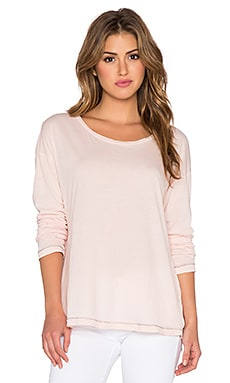 SUNDRY Drop Shoulder Long Sleeve Tee in Petal