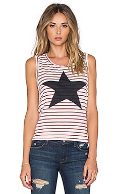 SUNDRY Striped Star Muscle Tank in White & Burgundy