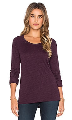 SUNDRY Light Terry Long Sleeve Raglan Tee in Aubergine