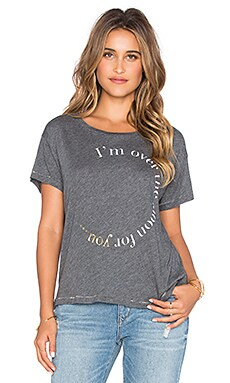 SUNDRY Over The Moon Loose Crew Neck Tee in Dark Heather Grey