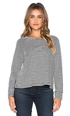 SUNDRY Striped Open Side Long Sleeve Tee in Natural
