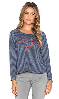 SUNDRY Tres Jolie Open Side Long Sleeve Tee in Klein Blue