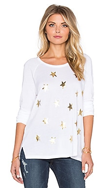 SUNDRY Scatter Stars Long Sleeve Raglan Tee in White