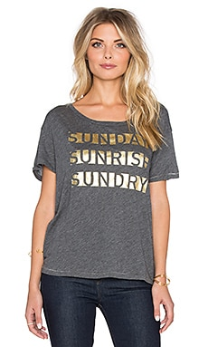 SUNDRY Sunday Sunrise Loose Crew Neck Tee in Dark Heather Grey