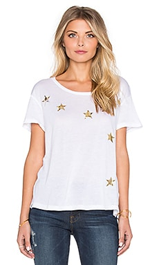 SUNDRY Scatter Stars Loose Crew Neck Tee in White