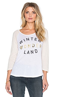 SUNDRY Winter Wonderland Baseball Tee in White & Heather Oatmeal