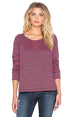 SUNDRY Striped Open Side Long Sleeve Tee in Fuchsia