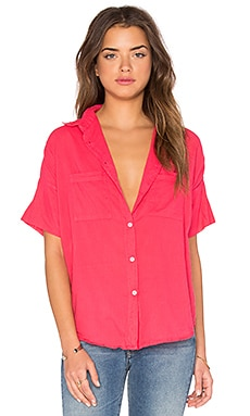 SUNDRY Cotton Voile Short Sleeve Shirt in Hibiscus