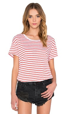 SUNDRY Loose Tee in Tomato Stripe