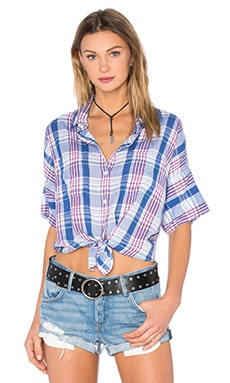 Blue Madras Short Sleeve Button Down Top