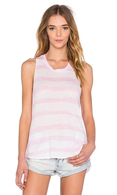 SUNDRY Jersey Stripes Scoop Neck Tank in Pop Pink Stripe
