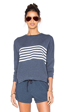 SUNDRY Striped Dolman Long Sleeve Top in Denim