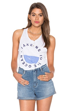 SUNDRY Take Me Hi Low Tank in White
