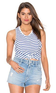 SUNDRY Supima Slub Stripes Hi Low Tank in Blue Stripes