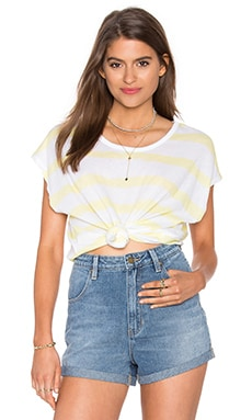 SUNDRY Jersey Stripes Square Tee in Yellow Stripes