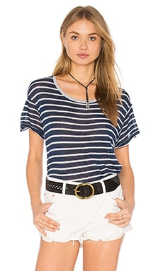 SUNDRY Linen Stripes Crew Neck Tee in Navy Stripe
