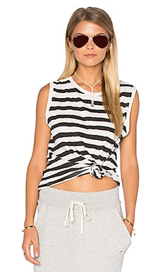 SUNDRY Striped Muscle Tank in Cream