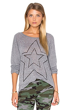SUNDRY Star Long Sleeve in Burnout Heather Grey