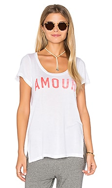 SUNDRY Light Jersey Amour Crew Neck Tee in White