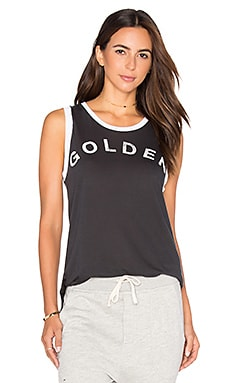 SUNDRY Light Jersey Golden Ringer Muscle Tank in Old Black