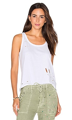 SUNDRY Texture Jersey Scoop Tank in White