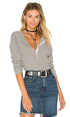 Stripes Rib Henley in Cream