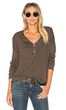 Stripes Rib Henley in Military