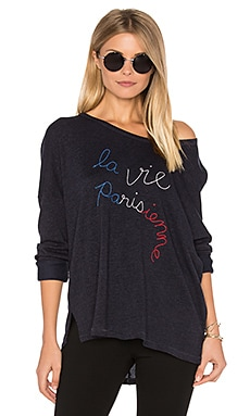 Parisienne Long Sleeve Top in Navy