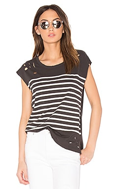 Distressed Stripe Tee in Old Black