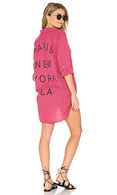 Paris NY LA Oversized Shirt in Cherry