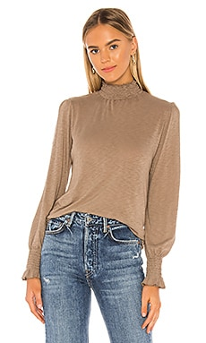 Smocked Mock Neck Top SUNDRY $69