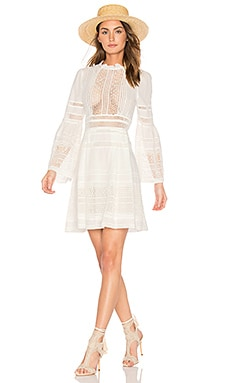 Baja Lace Long Sleeve Dress in White