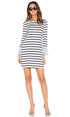 Stripe & Eyelet Dress in Blue & Ivory Stripe