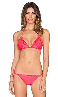 Seafolly Shimmer Slide Tri Bikini Top in Neon Red