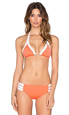Seafolly Block Party Slide Triangle Bikini Top in Nectarine
