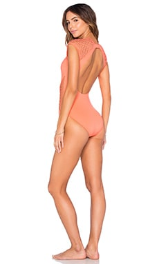 Seafolly Mesh About Surf Maillot in Nectarine