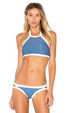 Block Party High Neck Tank Bikini Top in Denim