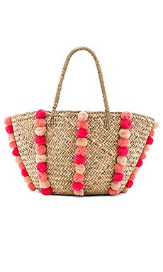 Carried Away Pom Pom Beach Basket em Natural