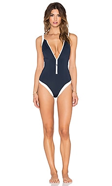 Seafolly Block Party Zip Front Swimsuit in Indigo