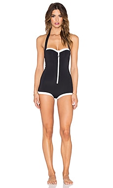 Seafolly Block Party Retro Maillot Swimsuit in Black