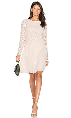 Long Sleeve Lace Mini Dress in Powder