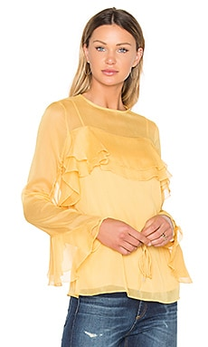 Tied Waist Long Sleeve Blouse in Honey Gold