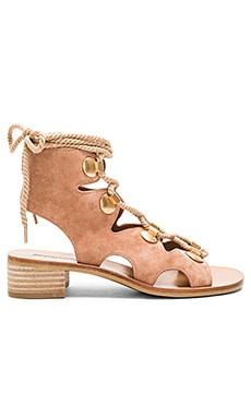 Lace Up Sandal in Natural