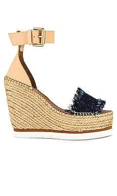 Frayed Wedge in Denim