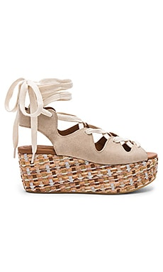 Lace Up Platform Sandal in Beige