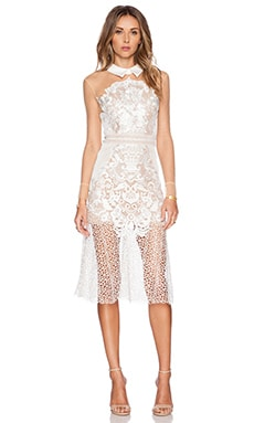 self-portrait Lace Mix Shirt Dress in White