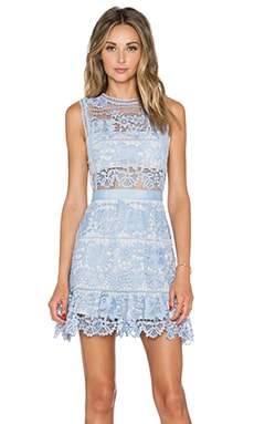 self-portrait Lace Peplum Mini Dress in Pale Blue