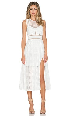 self-portrait Pleated Check Midi Dress in White