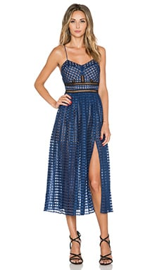 self-portrait Box pleated Cami Dress in Navy