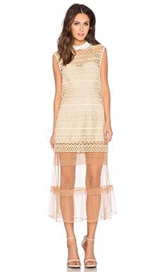 self-portrait Layered Shift Dress in Nude
